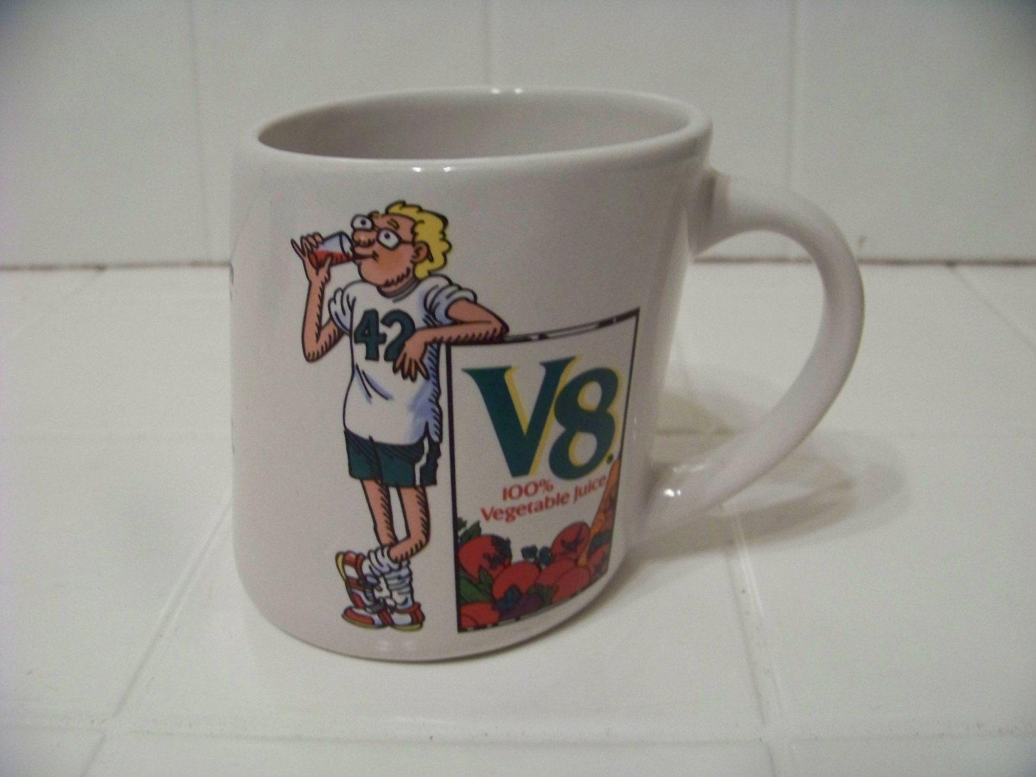slanty v8 vegetable juice advertising cup mug