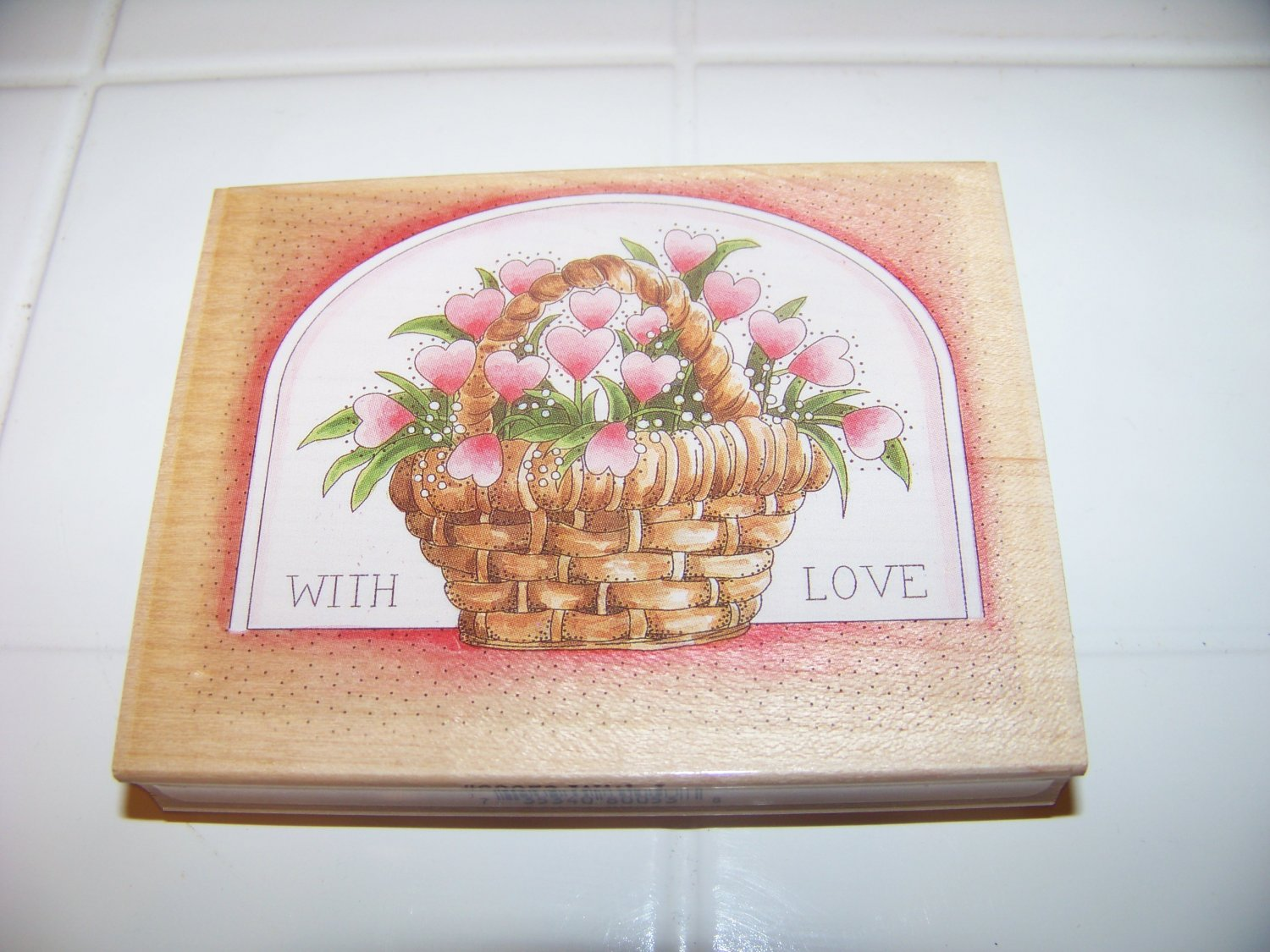 with love heart flower basket rubber stamp stamps happen