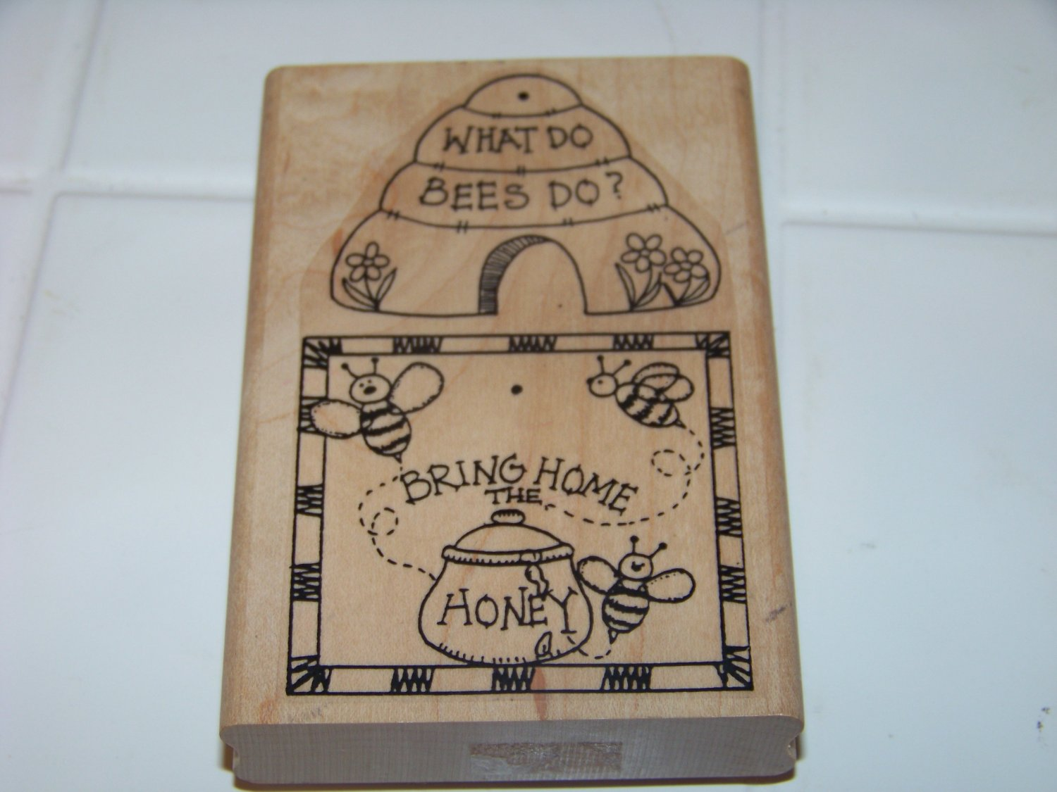 what do bees do? bring home the honey rubber stamp 1997