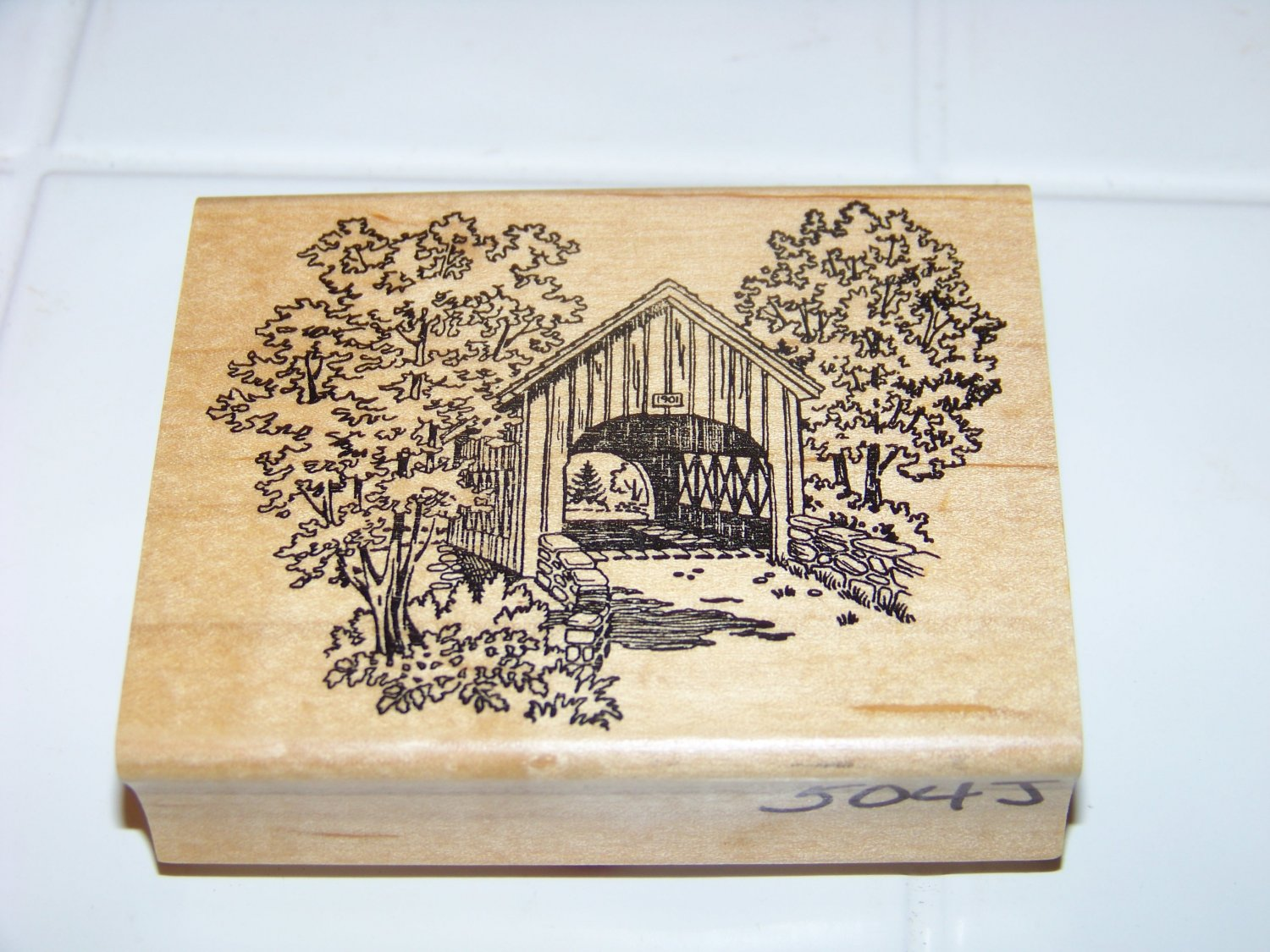 covered bridge rubber stamp 1997 embossing arts