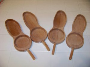 4 wood coaster snack bowl set trays