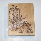 apple basket garden rubber stamp stamp hideaway