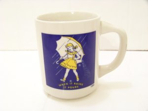 "Morton's salt advertising coffee cup ""when it rains it pours"" 1956"
