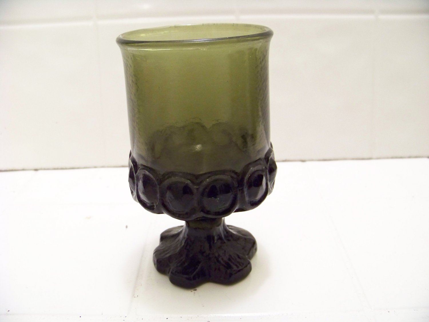 Vintage Franciscan Madeira Olive Green juice Goblets 5 inches tall
