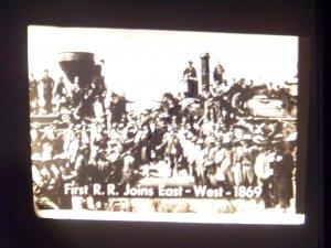 vintage slide first R.R. joins east west 1869 black and white slide