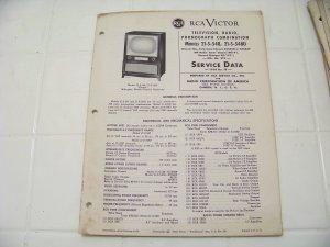 RCA Victor service data 1954 no.T9 television radio phonograph combination vintage electronics