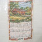 vintage 1973 cloth dish towel calendar with covered bridge