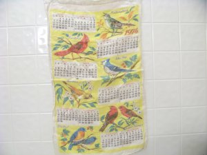 vintage 1974 cloth dish towel calendar with birds