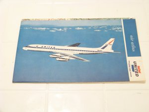 vintage United Airlines air atlas 1962 advertising airplanes map aviation