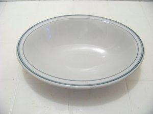 Vintage SHENANGO Restaurant style oval dish bowl  green stripe border