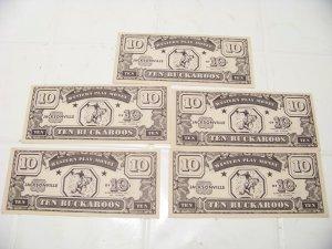 5 vintage toy western  play money Jacksonville $10 Buckaroos