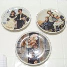 3 Norman Rockwell decorative wall hanging plates by IMM fine porcelain