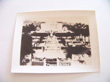 Vintage Mormon temple Honolulu Hawaii photograph black white photo