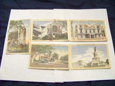 5 Vintage postcards Panama Canal Zone bella Vista, palace, ruins, Statue Balboa