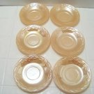 6 Fire King Luster oven ware saucers in Laurel leaf pattern lustre glass