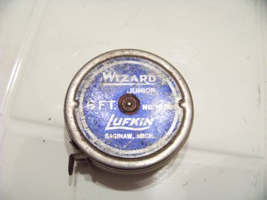 vintage Lufkin Wizard Junior tape measure tool 6' saginaw Michigan