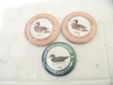 3 Ohio Decoy Collectors Carvers Association buttons duck hunting pinbacks pins