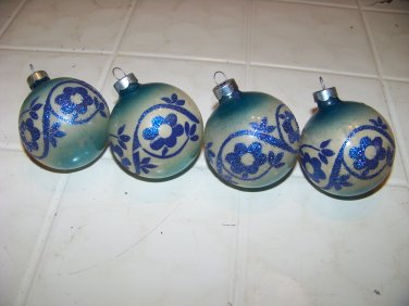 4 vintage glass Christmas tree ornaments bulbs blue flower franke premier glass