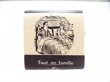 vintage Fractured French matchbook humor Tout en famille funny matches 1950's