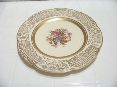 Beautiful Woods Ivory Ware plate roses gold trim rose flower bouquet