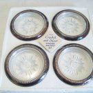4 vintage crystal and silverplate Eales Leonard Starburst glass coasters Italy