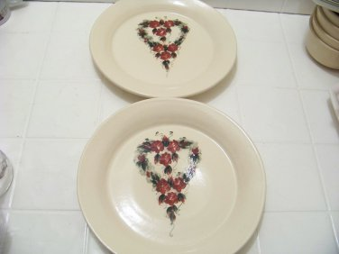 2 East Texas Pottery red heart dinner plates American pottery don't miss them!!