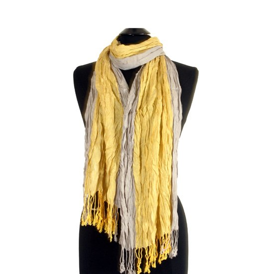 Yellow Wrinkled Scarf