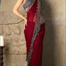 Maroon and Grey Sari