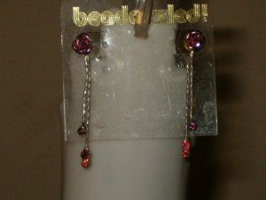 PINK ROSE CRYSTAL EARRINGS