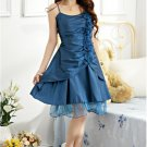 Asymmetric Pleated Dress - Blue