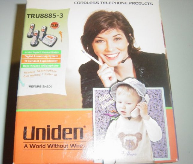 Uniden TRU8885-3 TRU-8885-3 5.8Ghz Cordless Phone/3 Handset with Answer System