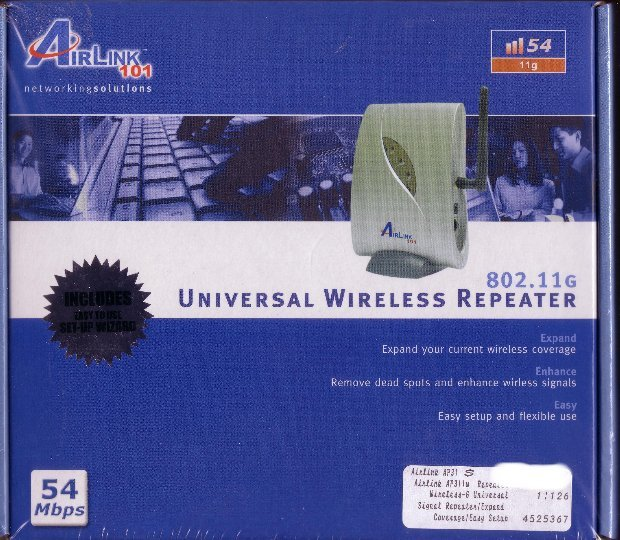 New Airlink Universal Wireless G 802.11G Expand Range Repeater