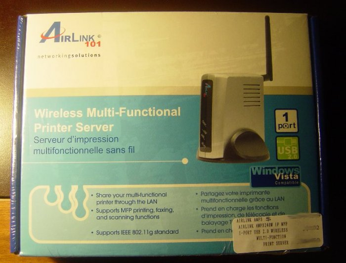 New Airlink 1-Port USB 2.0 Wireless Multi-Function Print Server