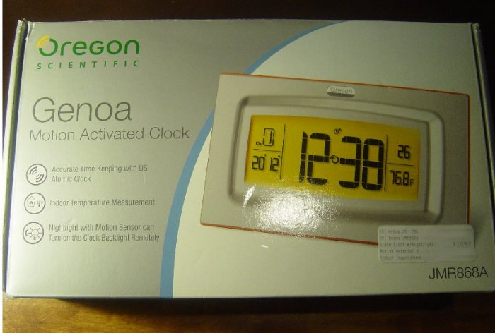 Brand New Oregon Scientific Genoa Alarm Clock Weather Station With Motion Sensor JMR868A