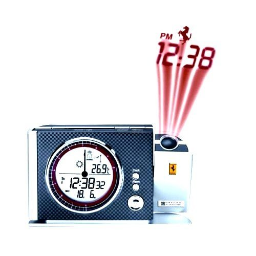 New Carbon Black Oregon Scientific FSP301A-K Maranello Ferrari Projection Clock with Weather Station