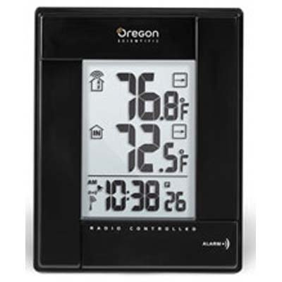 New Oregon Scientific RMR382A-BK Wireless Indoor/Outdoor Thermometer with Atomic Clock