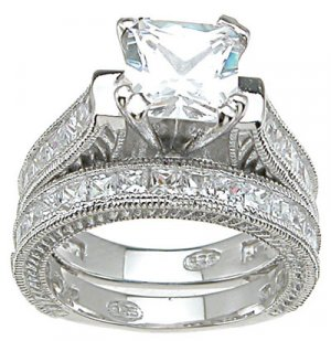 Princess Cut Engagement Set Ring