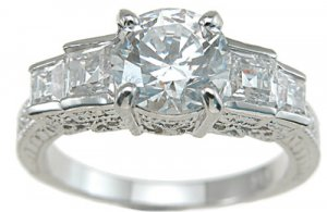 Princess Antique Style Engagement Ring