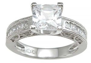Princess Cut Channel Wedding Ring