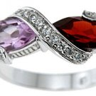 Genuine Amethyst And Garnet Ring