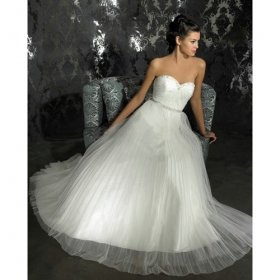 A-line Sweetheart Chapel Train Satin Tulle Wedding Dresses