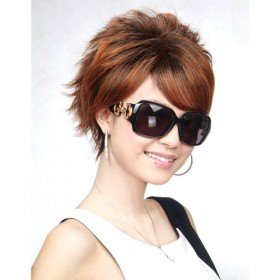 Short Styled Straight Hair Wig With Highlights