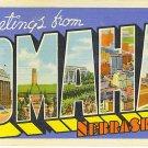 Large Letter OMAHA Linen Postcard, unmailed