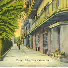 1940 Pirate's Alley, New Orelean's Linen postcard, post card Old Orleans Alley