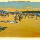Old Silver Beach, West Falmouth, Mass linen postcard, unused