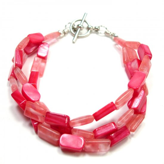 Triple Strand Mother of Pearl and Cherry Quartz Bracelet