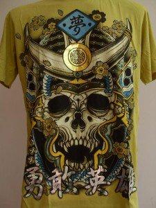 Emperor Eternity Skull Devil Samurai Tattoo Yellow L