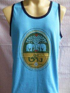 Thai Chang Beer T-shirt Tank Top Singlet Blue L XL