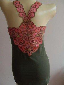 Flower Sexy Woman's T-Shirt Tank Top Vest Green XS #PF