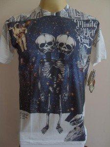 Minute Mirth 2 Head Alien Tattoo Men T-shirt White M L